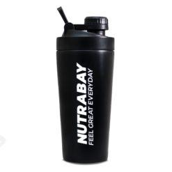 Nutrabay Black Steel Shaker Bottle 600ml