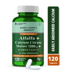 Carbamide Forte Alfalfa Calcium Citrate Malate 1200mg with Vitamin D, K2 MK7, B12, Magnesium & Zinc