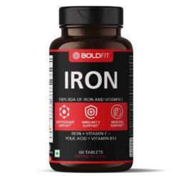 Boldfit Iron Supplement with Vitamin C, Folic Acid & Vitamin B12 - Iron Tablets
