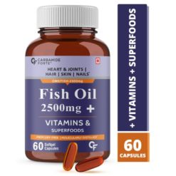 Carbamide Forte Fish Oil 2500mg (Omega 3 1500mg; 900 mg EPA and 600mg DHA Per Serving) Capsule For Men & Women with Biotin, Vitamin D, Vitamin K2-MK7