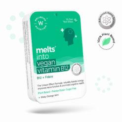 Wellbeing Nutrition Melts Vegan Vitamin B12 (Methylcobalamin)1500mcg, Folate (5-MTHF), Brahmi (Bacopa Monnieri), Curcumin