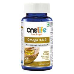 Onelife Omega 3-6-9, Vegan Omega Cold Pressed Organic Flaxseed Oil 1000 mg