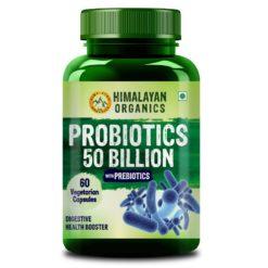 Himalayan Organics Probiotics Supplement 50 billion CFU with Prebiotics 150mg - Digestion, Gut Health & Immunity