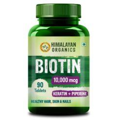 Himalayan Organics Biotin 10000mcg with Keratin + Piperine Supplement - Healthy Hair, Skin & Nails