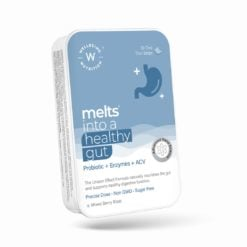 Wellbeing Nutrition Melts Healthy Gut | Plant Based Probiotic 10B CFU, Digestive Enzyme (Protease & Papain) with Organic Apple Cider Vinegar